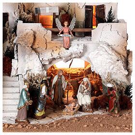 Presépio estilo árabe com gruta da Natividade figuras Moranduzzo altura média 10 cm; medidas: 36,5x50x40 cm s2