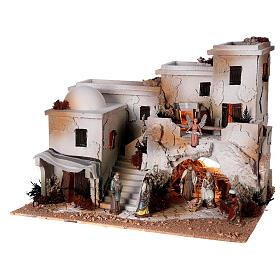 Presépio estilo árabe com gruta da Natividade figuras Moranduzzo altura média 10 cm; medidas: 36,5x50x40 cm s4