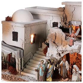 Presépio estilo árabe com gruta da Natividade figuras Moranduzzo altura média 10 cm; medidas: 36,5x50x40 cm s5