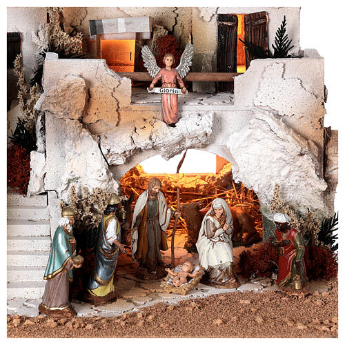 Presépio estilo árabe com gruta da Natividade figuras Moranduzzo altura média 10 cm; medidas: 36,5x50x40 cm 2