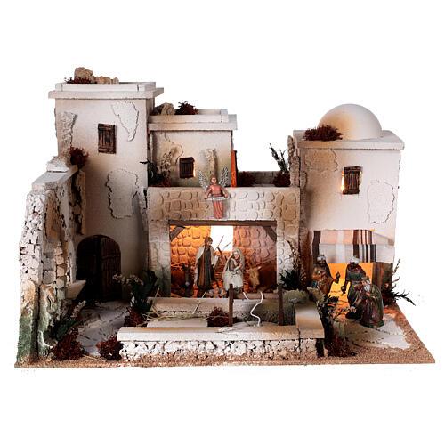 Moranduzzo Palestinian Nativity scene with well statues 10 cm 35x50x40 cm 1
