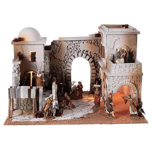 Moranduzzo Arabic Nativity scene market statues shepherds 10 cm 35x50x40 cm 1