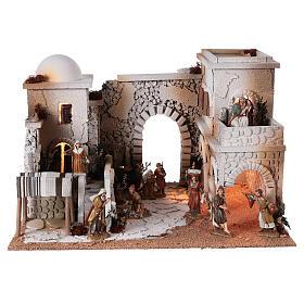 Presépio estilo árabe cena mercado figuras Moranduzzo altura média 10 cm; medidas: 33x50x40 cm s1