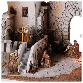Presépio estilo árabe cena mercado figuras Moranduzzo altura média 10 cm; medidas: 33x50x40 cm s5