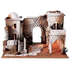Presépio estilo árabe cena mercado figuras Moranduzzo altura média 10 cm; medidas: 33x50x40 cm s7