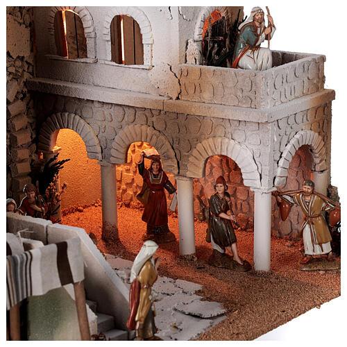 Presépio estilo árabe cena mercado figuras Moranduzzo altura média 10 cm; medidas: 33x50x40 cm 2