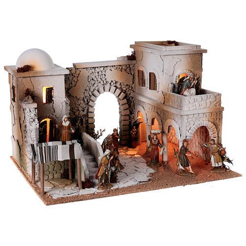 Presépio estilo árabe cena mercado figuras Moranduzzo altura média 10 cm; medidas: 33x50x40 cm 6