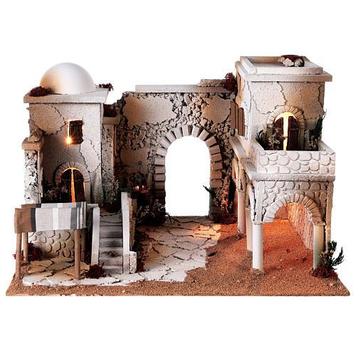 Presépio estilo árabe cena mercado figuras Moranduzzo altura média 10 cm; medidas: 33x50x40 cm 7