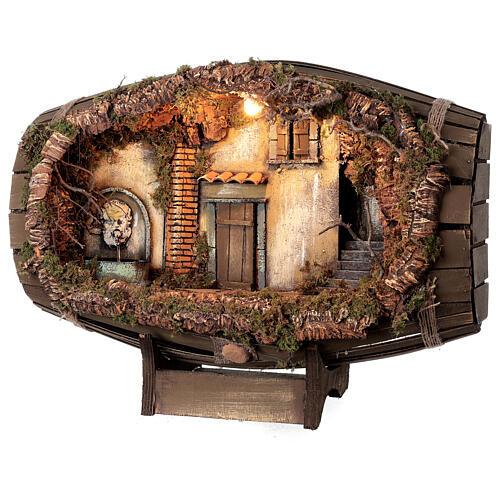 Fountain barrel working Neapolitan Nativity scene 10 cm 3