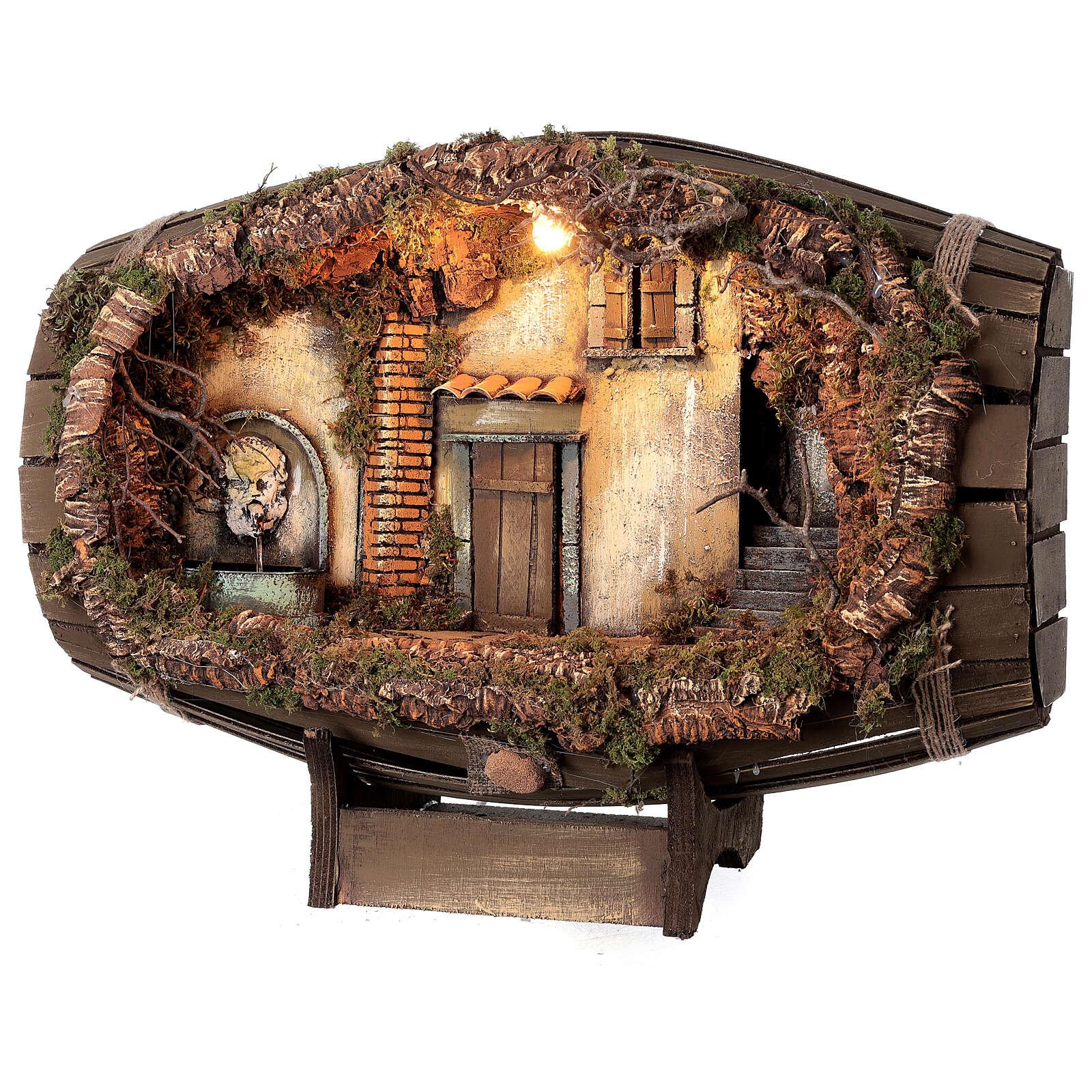 Barrel electric fountain for Neapolitan Nativity Scene with 10 cm figurines 4