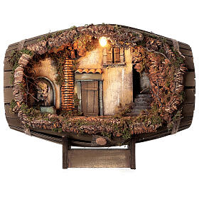 Barrel electric fountain for Neapolitan Nativity Scene with 10 cm figurines s1