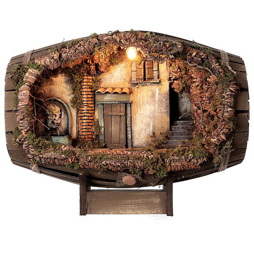 Barrel electric fountain for Neapolitan Nativity Scene with 10 cm figurines 1