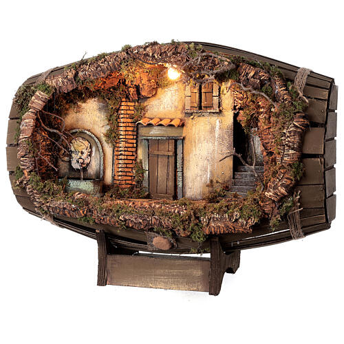 Barrel electric fountain for Neapolitan Nativity Scene with 10 cm figurines 3