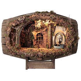 Neapolitan nativity scene horizontal barrel 12-15 cm s1