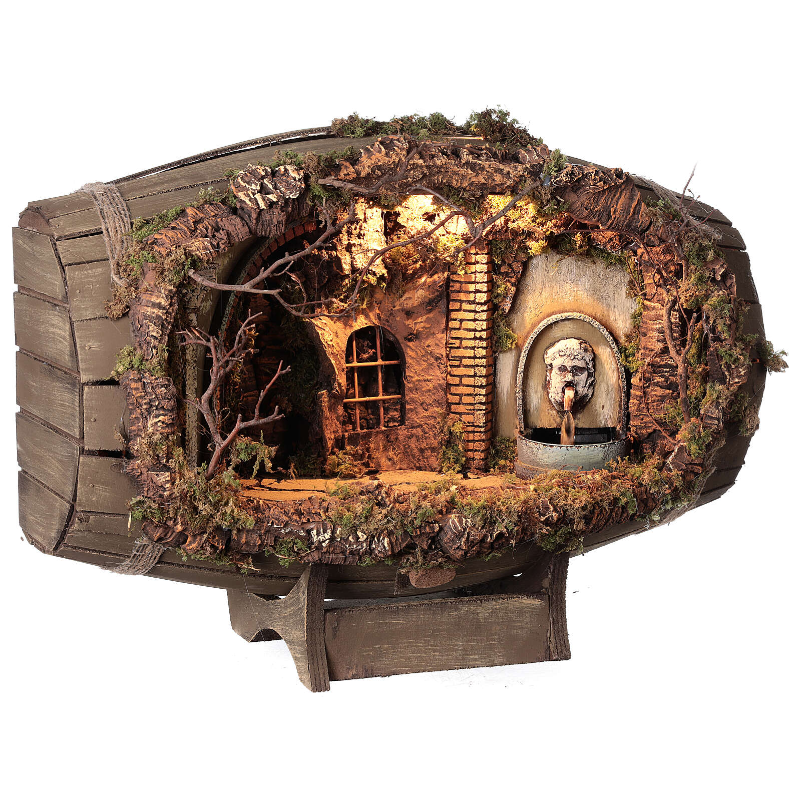 Horizontal barrel for Neapolitan Nativity Scene with 12-15 cm figurines 4