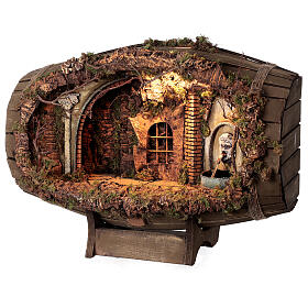 Horizontal barrel for Neapolitan Nativity Scene with 12-15 cm figurines s3