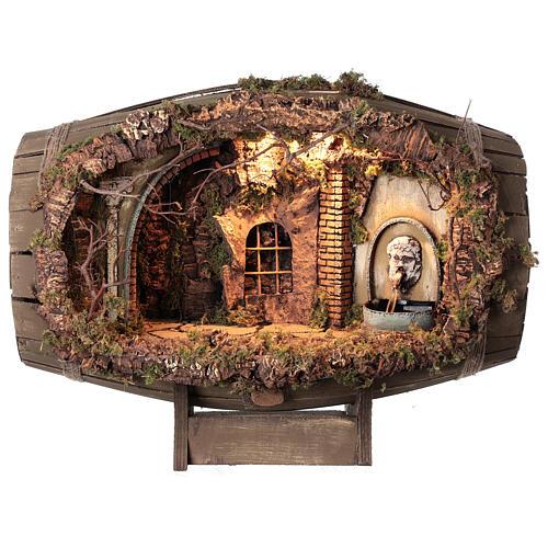 Horizontal barrel for Neapolitan Nativity Scene with 12-15 cm figurines 1