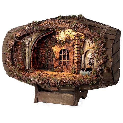 Horizontal barrel for Neapolitan Nativity Scene with 12-15 cm figurines 3
