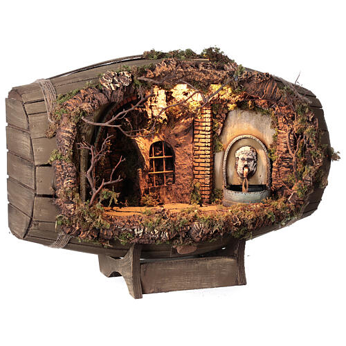Horizontal barrel for Neapolitan Nativity Scene with 12-15 cm figurines 5