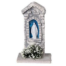 Capela Nossa Senhora em miniatura gesso para para presépio com figuras altura média 10-14 cm; medidas: 12x6x4 cm s1