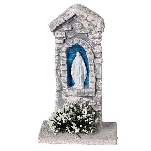 Capela Nossa Senhora em miniatura gesso para para presépio com figuras altura média 10-14 cm; medidas: 12x6x4 cm 1