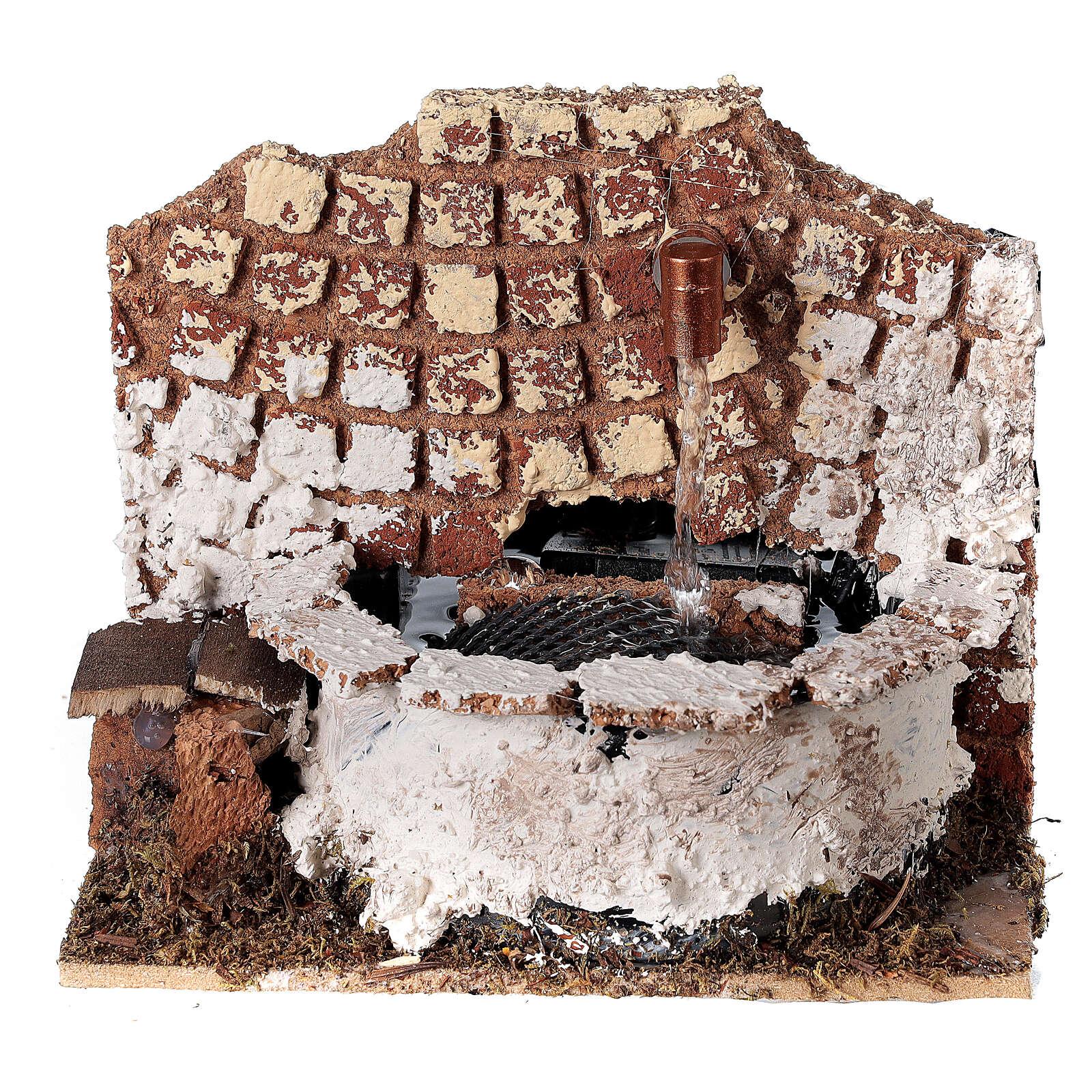 Fontana circolare con pompa 10x15x10 cm per presepe 8-10 cm 4