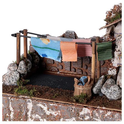 Fontanário lavadouro com bomba de água para presépio com figuras de altura média 10 cm; medidas: 24x33x18 cm 4