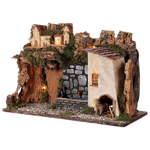 Village with lights and fountain with pump 30x45x20 for Nativity scenes 10-12 cm 3