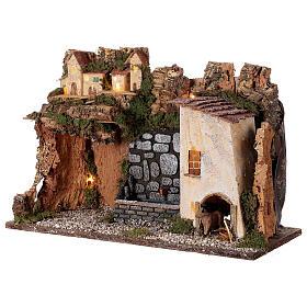 Village avec lumières et fontaine avec pompe 30x45x20 cm pour crèche 10-12 cm s3