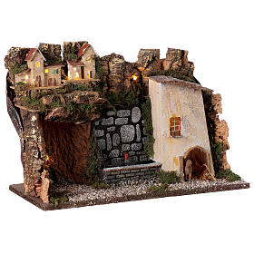 Village avec lumières et fontaine avec pompe 30x45x20 cm pour crèche 10-12 cm s4