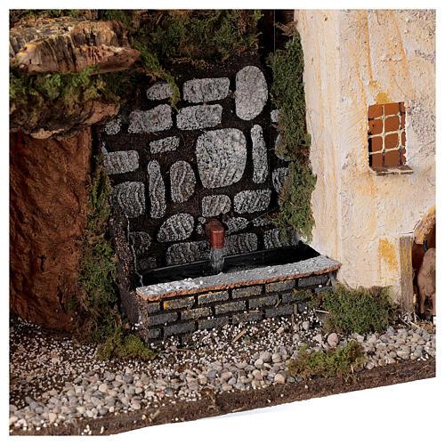 Village avec lumières et fontaine avec pompe 30x45x20 cm pour crèche 10-12 cm 2