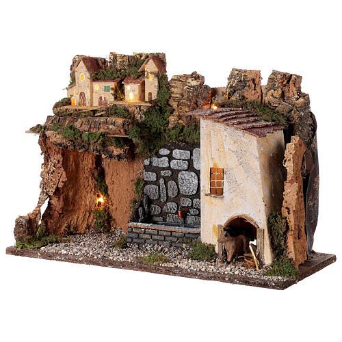 Village avec lumières et fontaine avec pompe 30x45x20 cm pour crèche 10-12 cm 3
