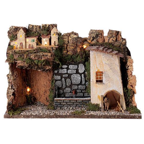 Villaggio con luci e fontana con pompa 30x45x20 per presepi 10-12 cm 1