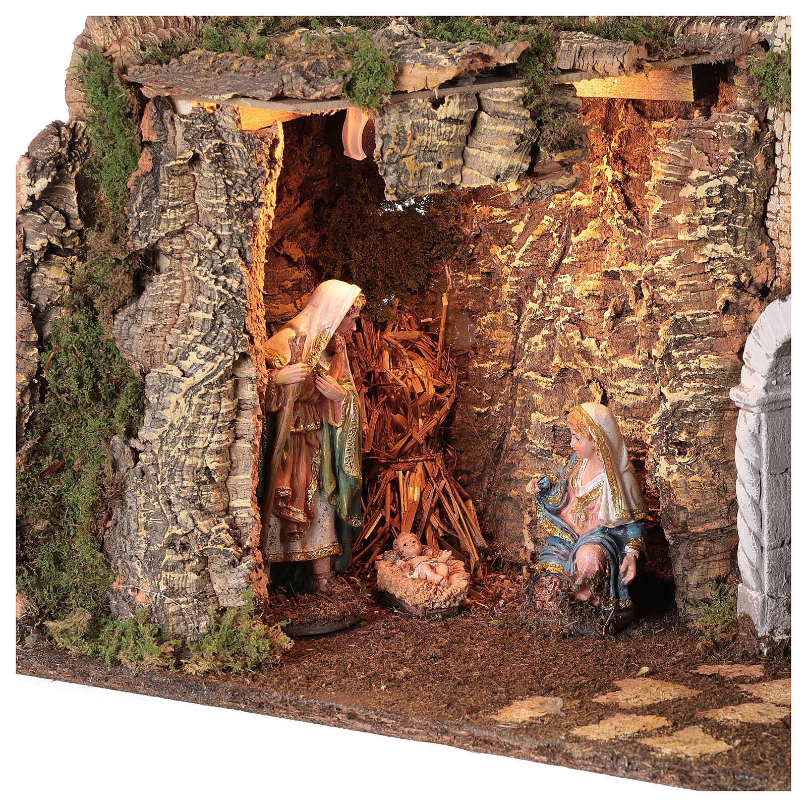 Grotta Sacra Famiglia arcata rovina illuminata presepe 35x50x25 cm 4