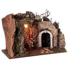 Grotta Sacra Famiglia arcata rovina illuminata presepe 35x50x25 cm s4