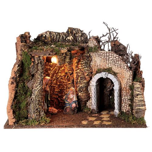 Grotta Sacra Famiglia arcata rovina illuminata presepe 35x50x25 cm 1