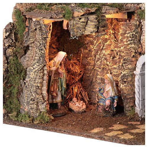 Grotta Sacra Famiglia arcata rovina illuminata presepe 35x50x25 cm 2