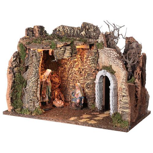 Grotta Sacra Famiglia arcata rovina illuminata presepe 35x50x25 cm 3