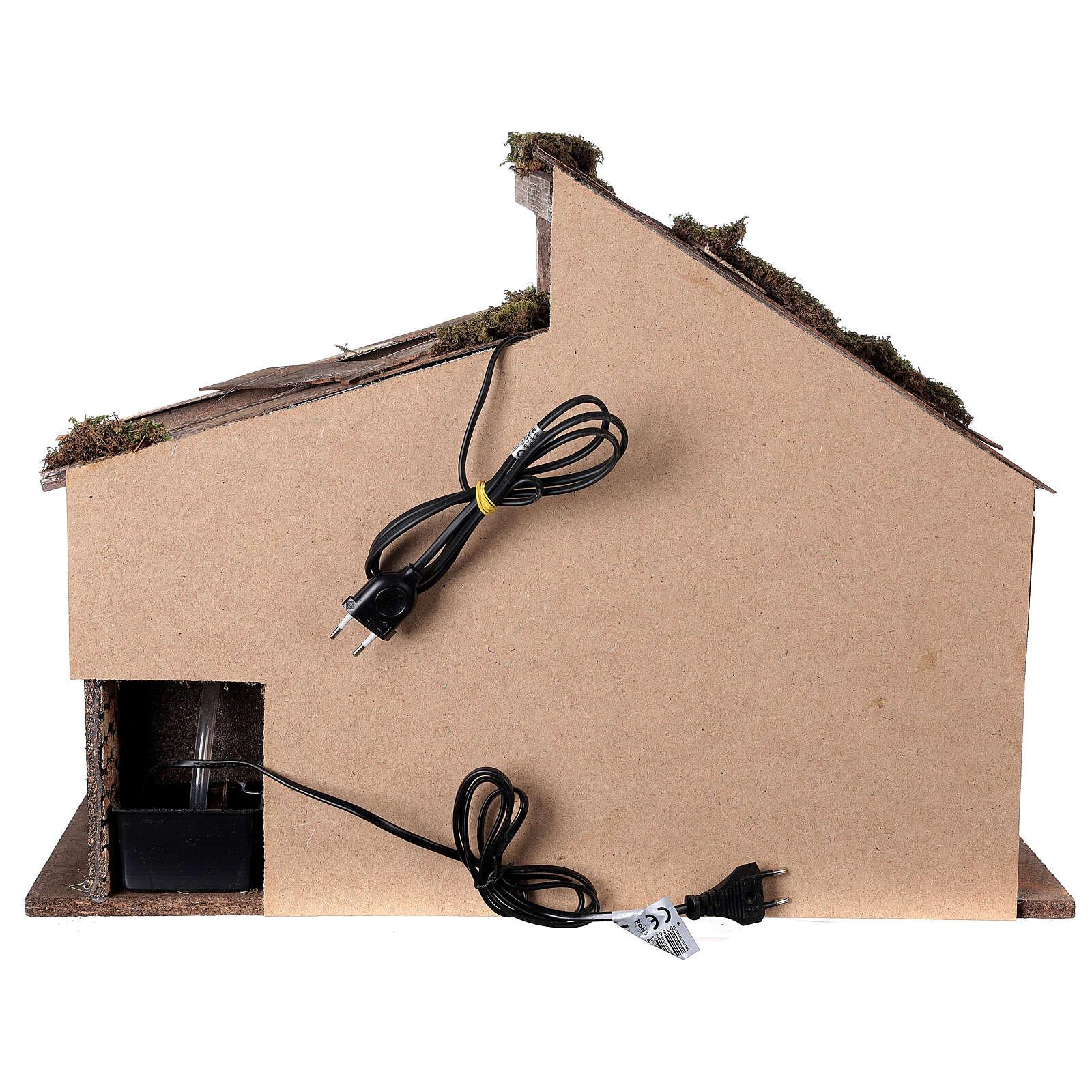 Cabane Nativité crèche moulin à eau 45x60x35 cm pour santons 14-16 cm 4