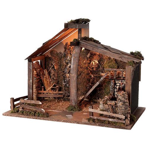 Cabane Nativité crèche moulin à eau 45x60x35 cm pour santons 14-16 cm 3