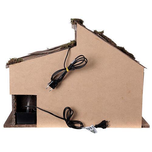 Cabane Nativité crèche moulin à eau 45x60x35 cm pour santons 14-16 cm 5