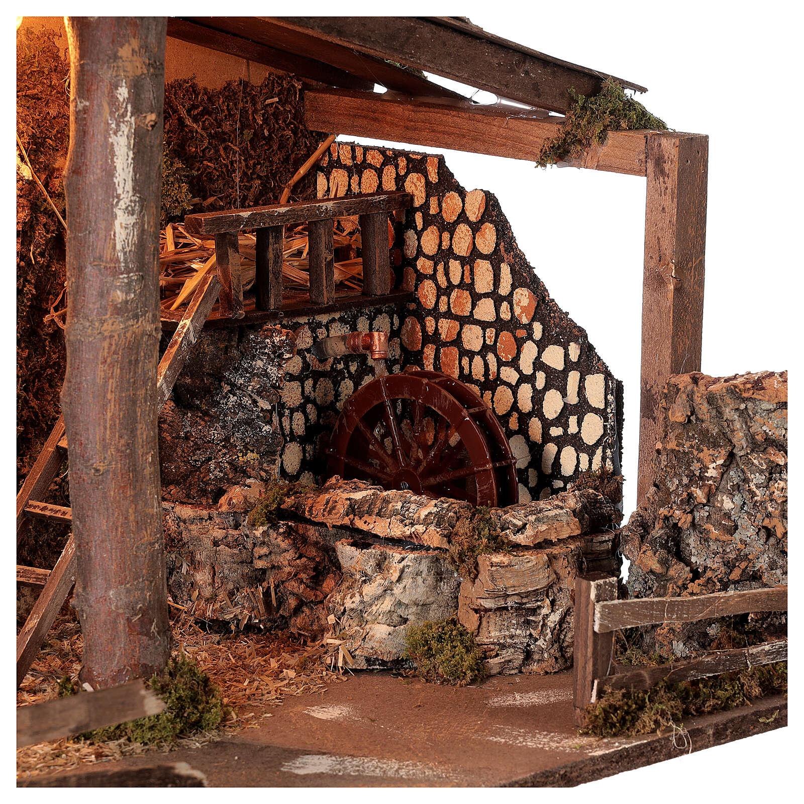Capanna Natività presepe mulino acqua 45x60x35 cm per statue 14-16 cm 4