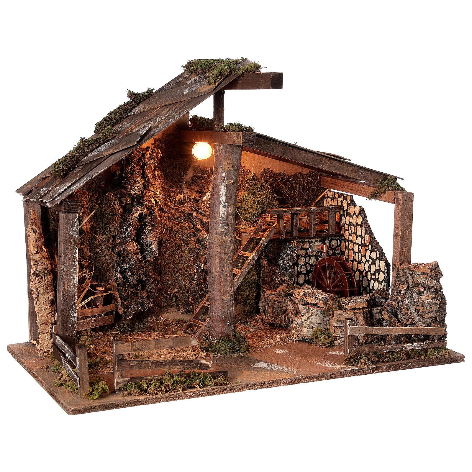 Cabana Natividade de Jesus com moinho de água para presépio com figuras de altura média 14-16 cm; medidas: 44x60x34 cm 4
