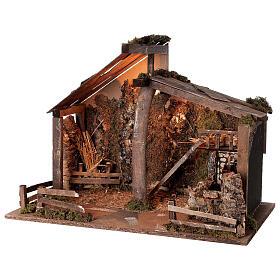 Cabana Natividade de Jesus com moinho de água para presépio com figuras de altura média 14-16 cm; medidas: 44x60x34 cm s3