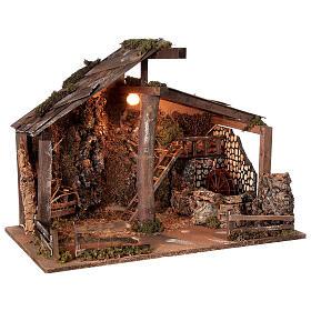 Cabana Natividade de Jesus com moinho de água para presépio com figuras de altura média 14-16 cm; medidas: 44x60x34 cm s4