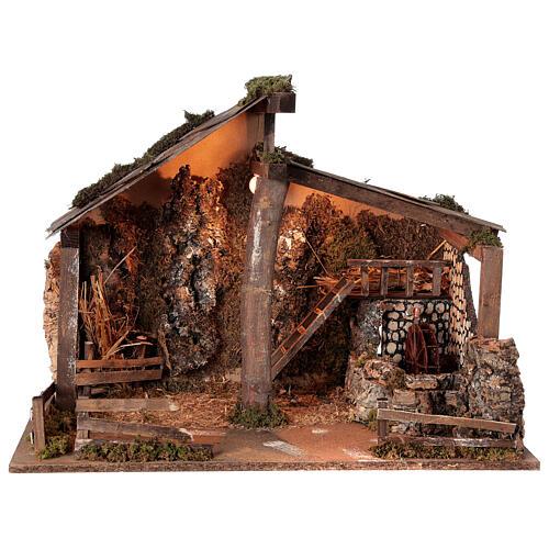 Cabana Natividade de Jesus com moinho de água para presépio com figuras de altura média 14-16 cm; medidas: 44x60x34 cm 1