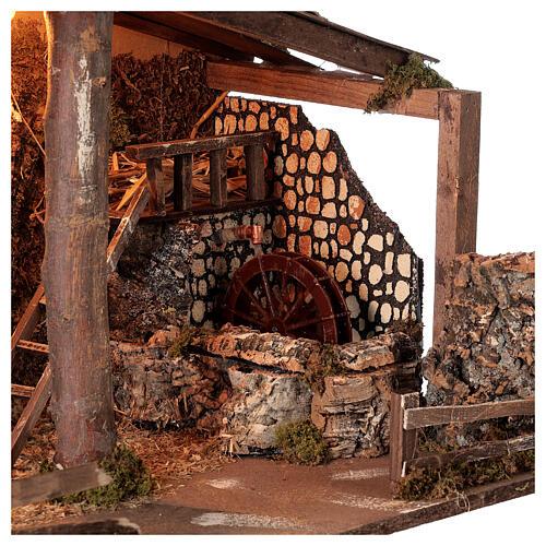 Cabana Natividade de Jesus com moinho de água para presépio com figuras de altura média 14-16 cm; medidas: 44x60x34 cm 2
