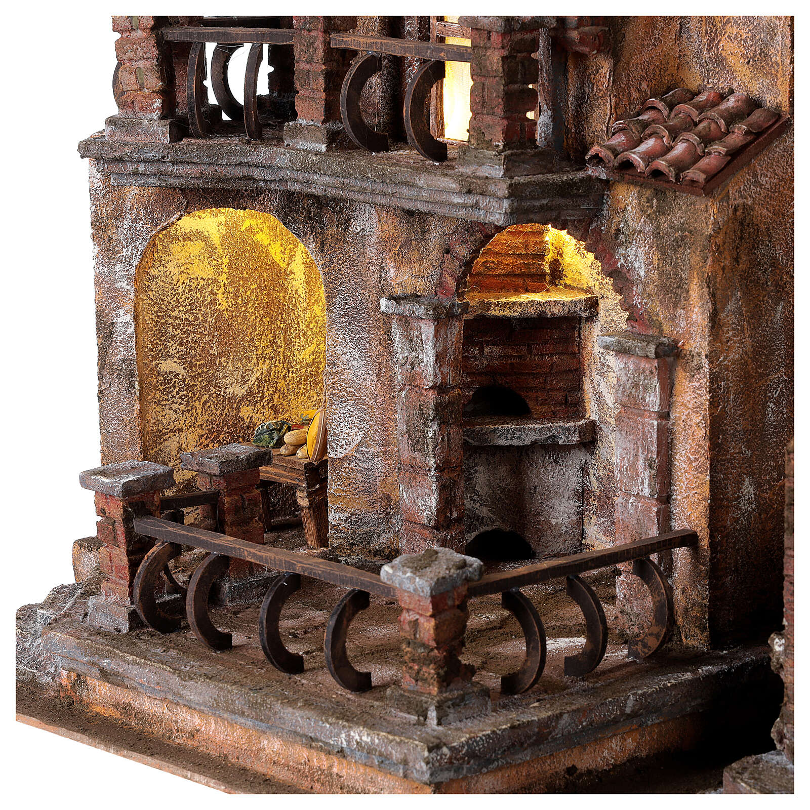 Traditional Nativity scene village with light, dimensions 50x60x40 cm 4