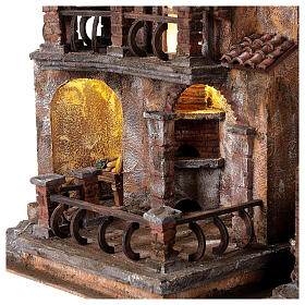 Traditional Nativity scene village with light, dimensions 50x60x40 cm s2