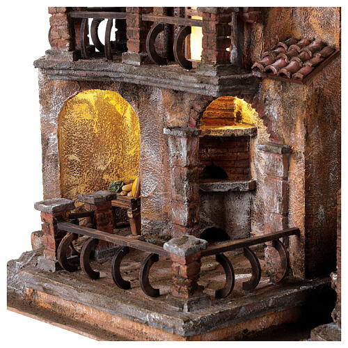 Traditional Nativity scene village with light, dimensions 50x60x40 cm 2